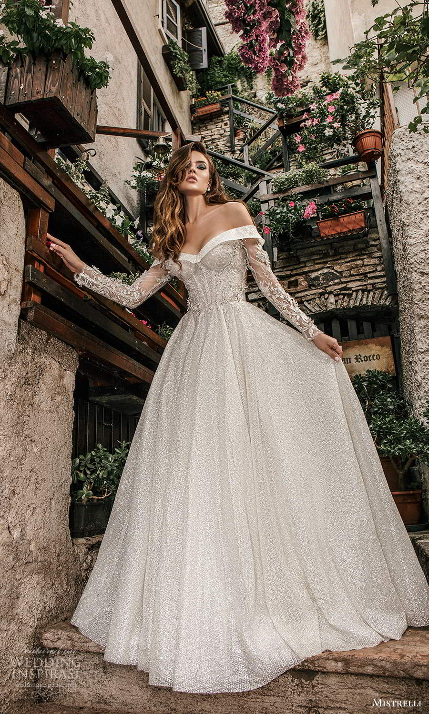 mistrelli 2021 bridal euphoria long sleeves off shoulder sweetheart neckline fully embellished a line ball gown wedding dress chapel train (16) mv