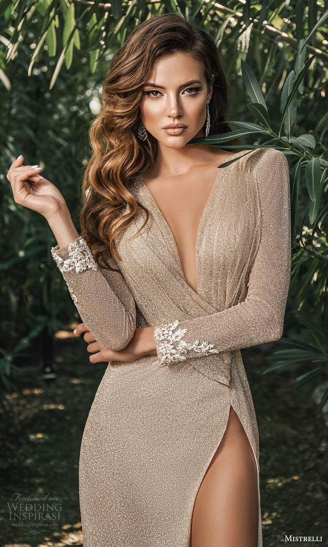 mistrelli 2021 bridal euphoria long sleeves plunging v neckline fully embellished sheath wedding dress slit skirt metallic bronze (2) zv