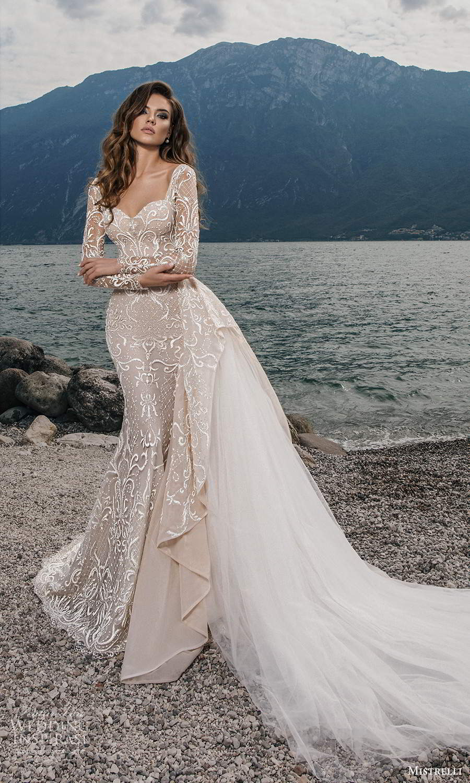 mistrelli 2021 bridal euphoria long sleeves sweetheart neckline fully embellished sheath wedding dress ball gown overskirt train chapel train (9) mv