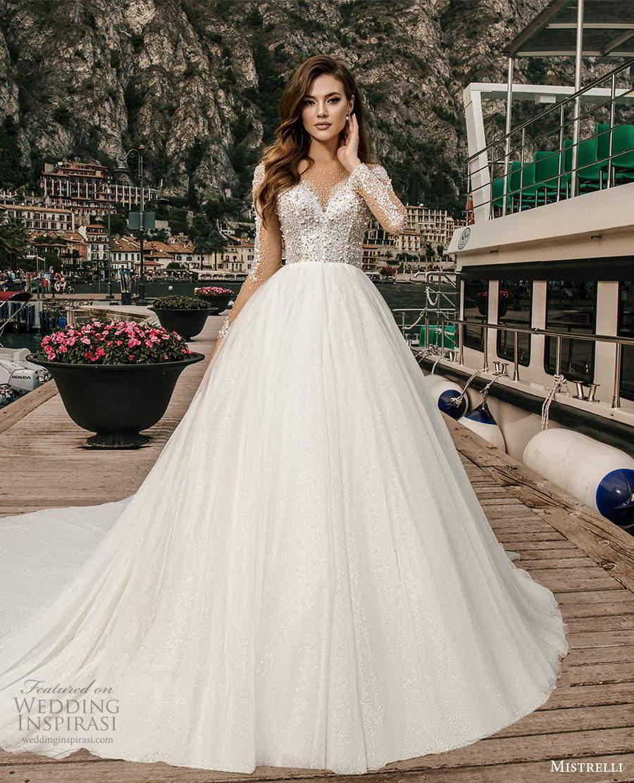 mistrelli 2021 bridal euphoria long sleeves sweetheart neckline heavily embellished bodice a line ball gown wedding dress chapel train (25) mv