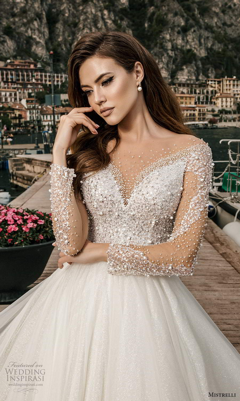 mistrelli 2021 bridal euphoria long sleeves sweetheart neckline heavily embellished bodice a line ball gown wedding dress chapel train (25) zv