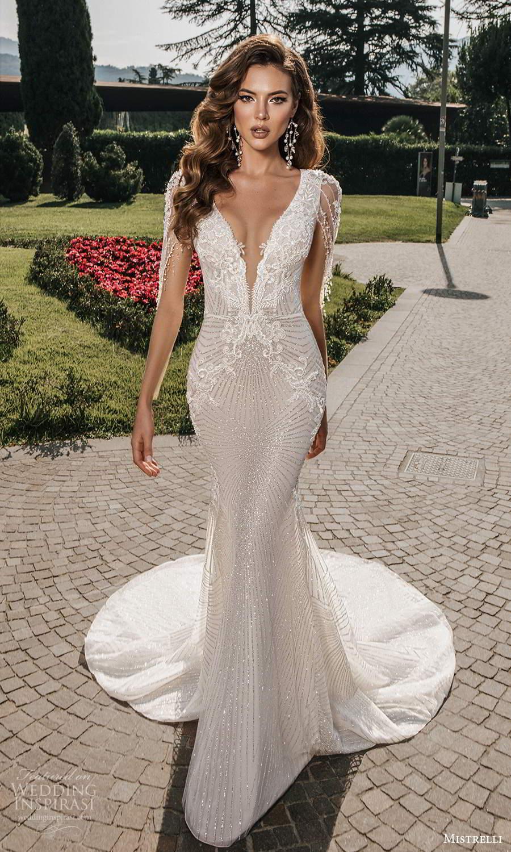 mistrelli 2021 bridal euphoria sheer long sleeves plunging v neckline fully embellished sheath wedding dress chapel train (7) mv