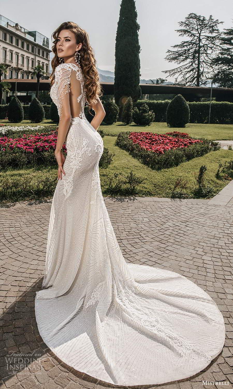 mistrelli 2021 bridal euphoria sheer long sleeves plunging v neckline fully embellished sheath wedding dress chapel train illusion back (7) bv