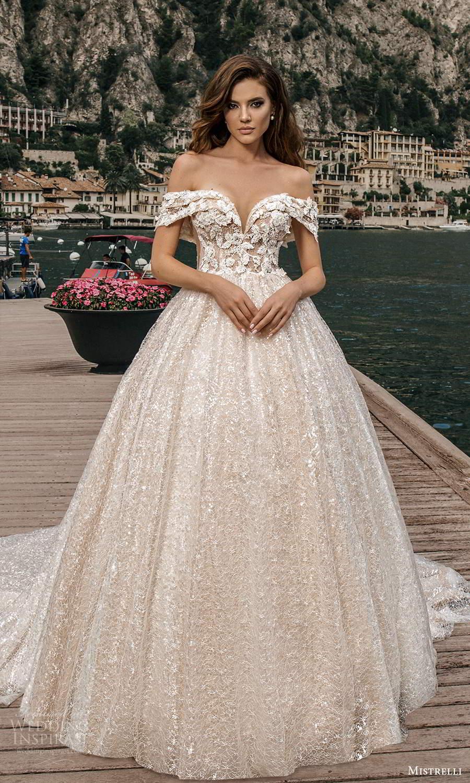 mistrelli 2021 bridal euphoria short sleeves swag straps off shoulder sweetheart neckline fully embellished a line ball gown wedding dress chapel train (22) mv
