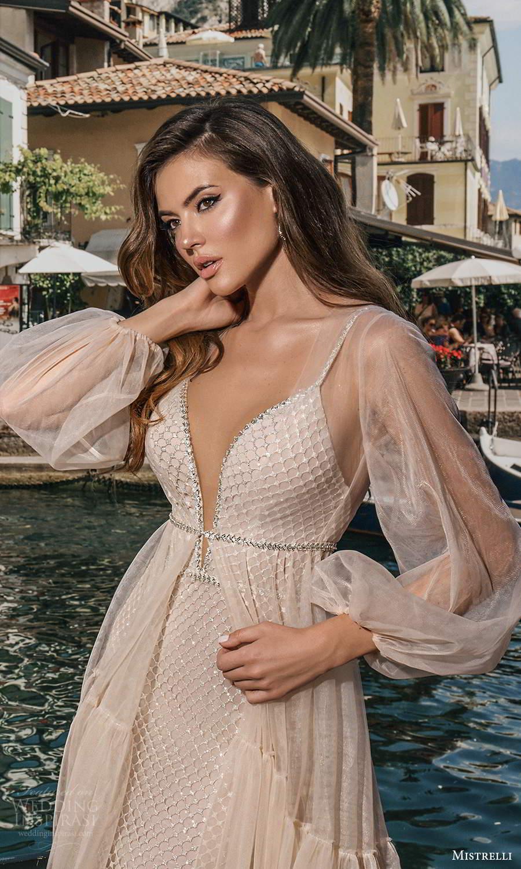 mistrelli 2021 bridal euphoria sleeveless beaded straps plunging v neckline fully embellished sheath wedding dress chapel train sheer bishop sleeve coat (10) zv