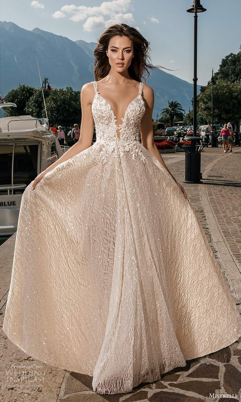 mistrelli 2021 bridal euphoria sleeveless double straps plunging vneckline fully embellished a line ball gown wedding dress blush chapel train (13) mv