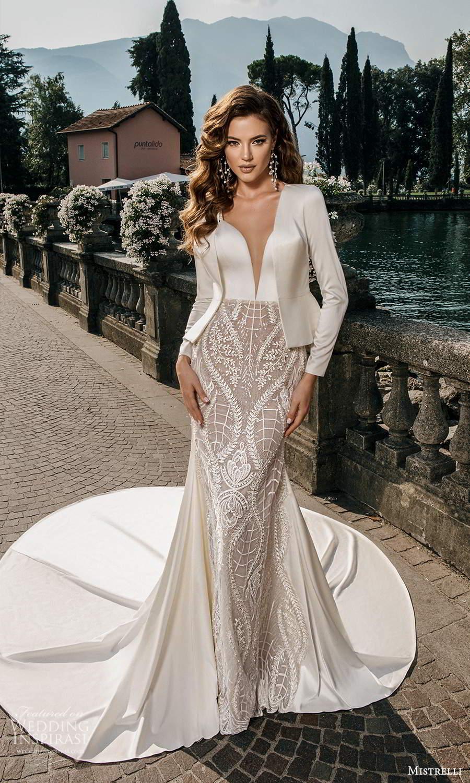 mistrelli 2021 bridal euphoria sleeveless straps plunging v neckline clean bodice embellished skirt sheath wedding dress chapel train jacket (12) mv