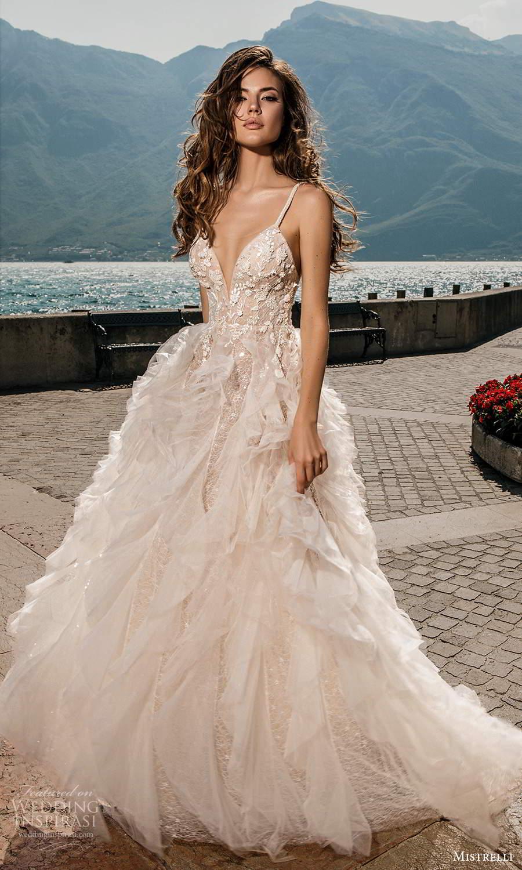 mistrelli 2021 bridal euphoria sleeveless straps plunging v neckline embellished bodice ruffle skirt a line ball gown wedding dress chapel train blush (16) mv