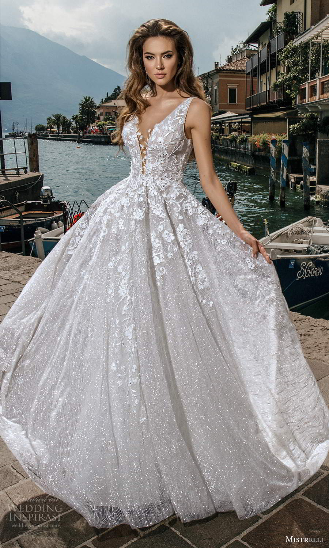 mistrelli 2021 bridal euphoria sleeveless straps plunging v neckline fully embellished a line ball gown wedding dress chapel train scoop back (23) mv