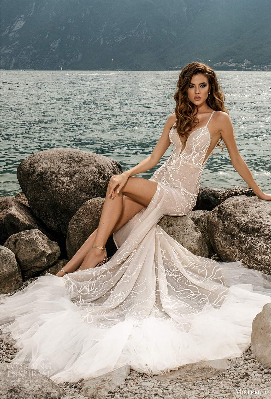 mistrelli 2021 bridal euphoria sleeveless straps plunging v neckline fully embellished mermaid sheath wedding dress chapel train slit skirt blush (17) mv