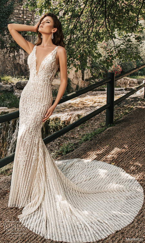 mistrelli 2021 bridal euphoria sleeveless straps plunging v neckline fully embellished sheath mermaid wedding dress chapel train (1) mv
