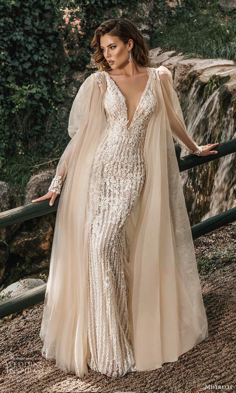 mistrelli 2021 bridal euphoria sleeveless straps plunging v neckline fully embellished sheath mermaid wedding dress chapel train cape (1) mv