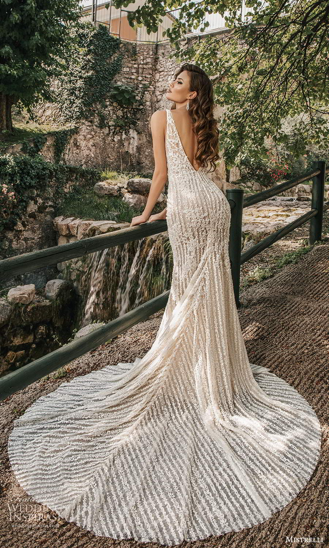 mistrelli 2021 bridal euphoria sleeveless straps plunging v neckline fully embellished sheath mermaid wedding dress chapel train v back (1) bv