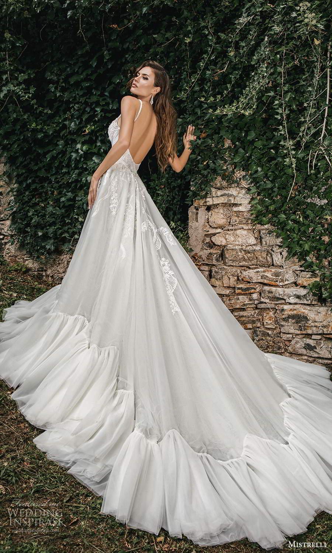 mistrelli 2021 bridal euphoria sleeveless straps plunging v neckline fully embellished sheath wedding dress a line ball gown overskirt chapel train (4) bv