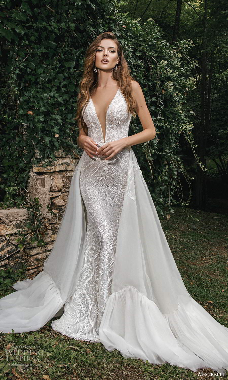 mistrelli 2021 bridal euphoria sleeveless straps plunging v neckline fully embellished sheath wedding dress a line ball gown overskirt chapel train (4) mv