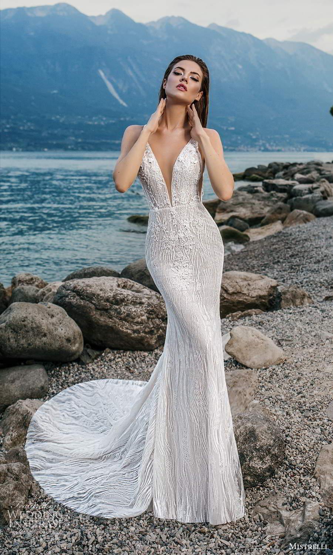 mistrelli 2021 bridal euphoria sleeveless straps plunging v neckline fully embellished sheath wedding dress chapel train (11) mv