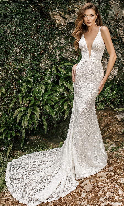 mistrelli 2021 bridal euphoria sleeveless straps plunging v neckline fully embellished sheath wedding dress chapel train (18) mv