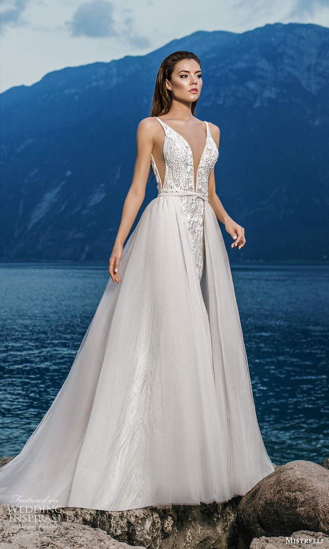 mistrelli 2021 bridal euphoria sleeveless straps plunging v neckline fully embellished sheath wedding dress chapel train a line overskirt (11) mv