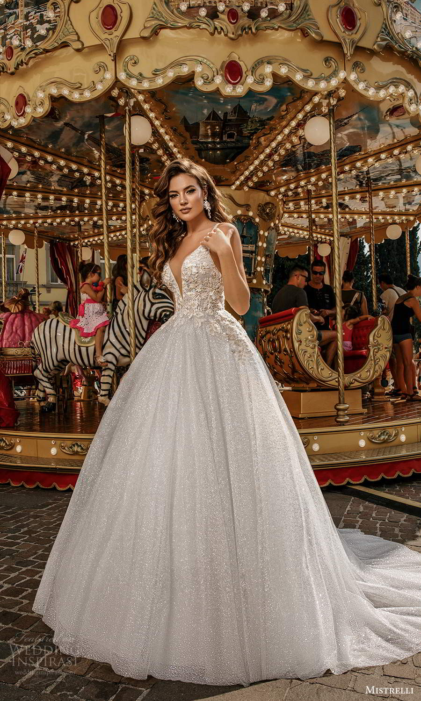mistrelli 2021 bridal euphoria sleeveless straps plunging v neckline heavily embellished bodice glitter skirt a line ball gown wedding dress chapel train (21) mv