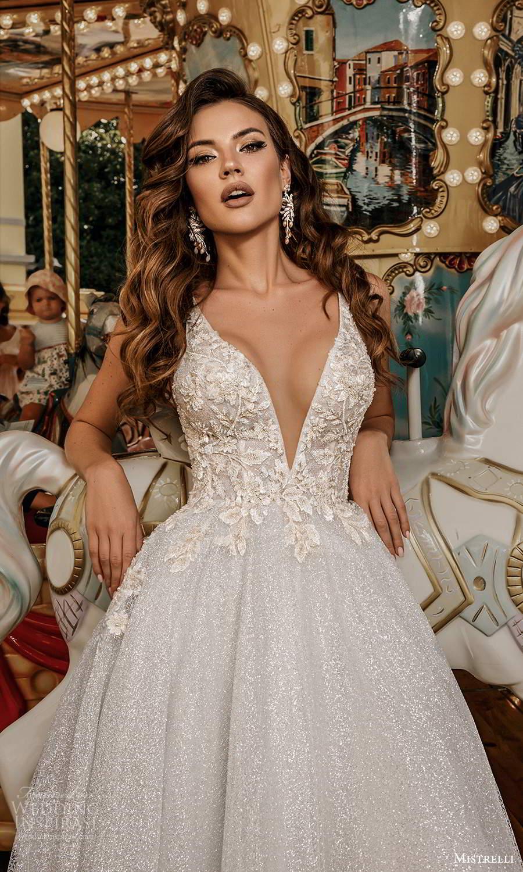 mistrelli 2021 bridal euphoria sleeveless straps plunging v neckline heavily embellished bodice glitter skirt a line ball gown wedding dress chapel train (21) zv