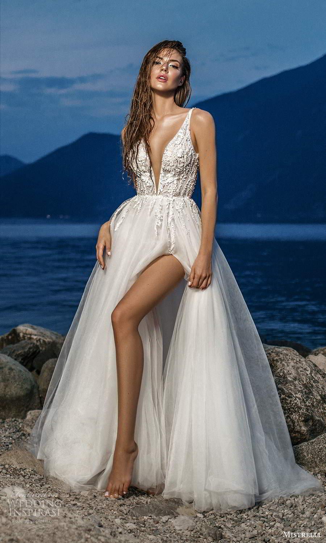 mistrelli 2021 bridal euphoria sleeveless straps plunging v neckline heavily embellished bodice tulle skirt a line ball gown wedding dress chapel train (19) mv