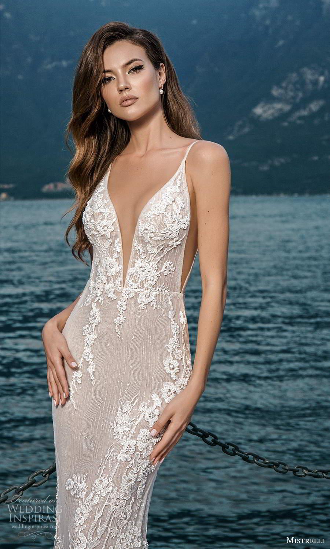 mistrelli 2021 bridal euphoria sleeveless straps plunging v neckline side cutout fully embellished lace sheath wedding dress chapel train blush (14) mv