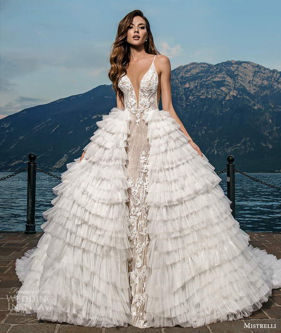 mistrelli 2021 bridal euphoria sleeveless straps plunging v neckline side cutout fully embellished lace sheath wedding dress chapel train blush ruffle ball gown overskirt (14) mv