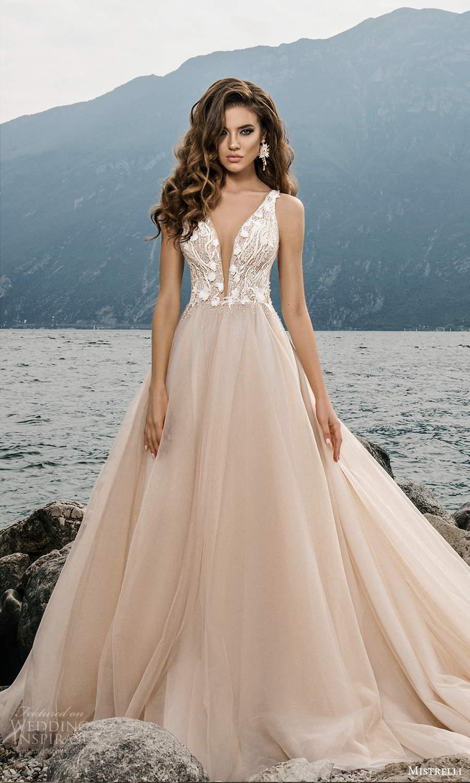 mistrelli 2021 bridal euphoria sleeveless straps plunging v necklnie heavily embellished bodice clean skirt a line ball gown wedding dress chapel train blush (24) mv