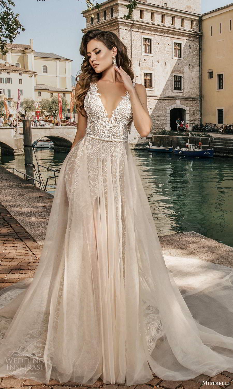 mistrelli 2021 bridal euphoria sleeveless straps v neckline fully embellished mermaid sheath wedding dress a line overskirt slit skirt low back chapel train (3) bv