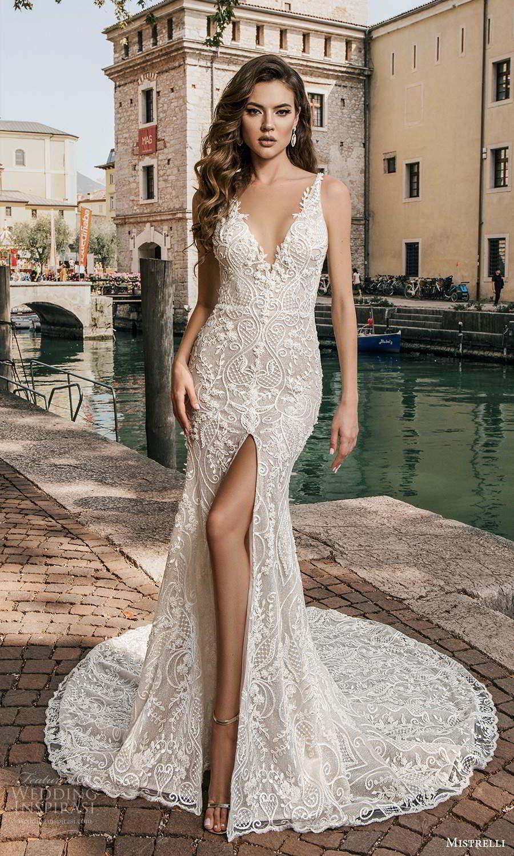 mistrelli 2021 bridal euphoria sleeveless straps v neckline fully embellished mermaid sheath wedding dress slit skirt chapel train (3) mv