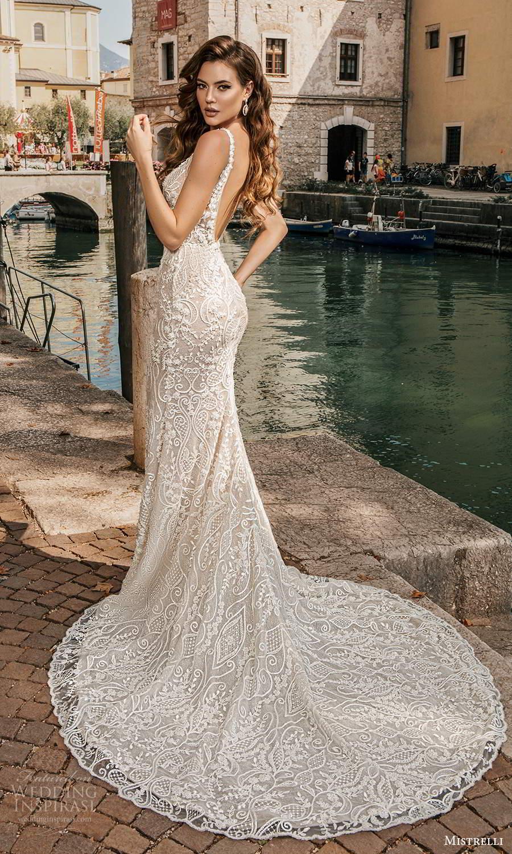 mistrelli 2021 bridal euphoria sleeveless straps v neckline fully embellished mermaid sheath wedding dress slit skirt low back chapel train (3) bv