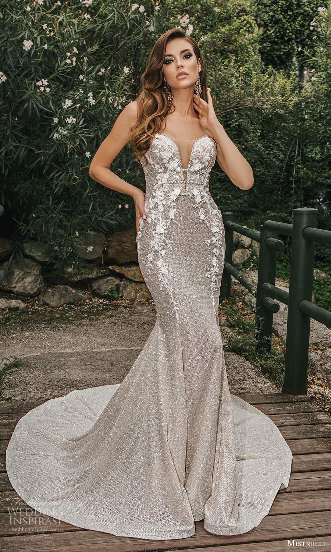 mistrelli 2021 bridal euphoria strapless sweetheart neckline fully embellished sheath wedding dress chapel train metallic silver (6) mv