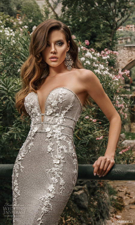 mistrelli 2021 bridal euphoria strapless sweetheart neckline fully embellished sheath wedding dress chapel train metallic silver (6) zv