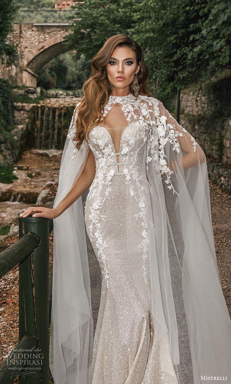 mistrelli 2021 bridal euphoria strapless sweetheart neckline fully embellished sheath wedding dress chapel train metallic silver cape (6) mv