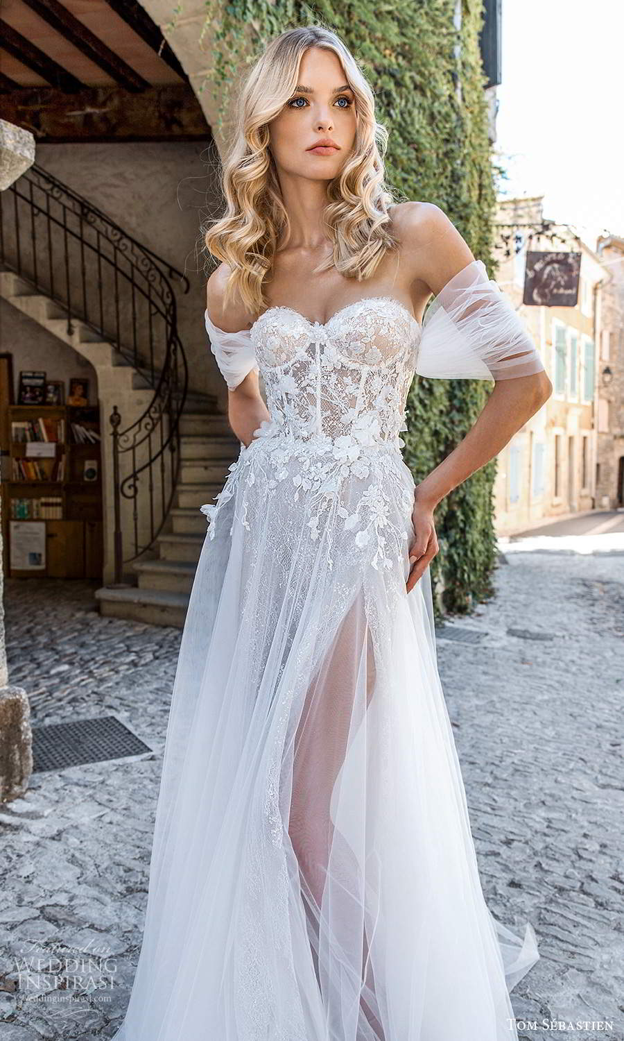 tom sebastien 2021 bridal provence off shoulder ruched straps strapless sweetheart neckline heavily embellished bodicea line ball gown wedding dress chapel train (8) mv