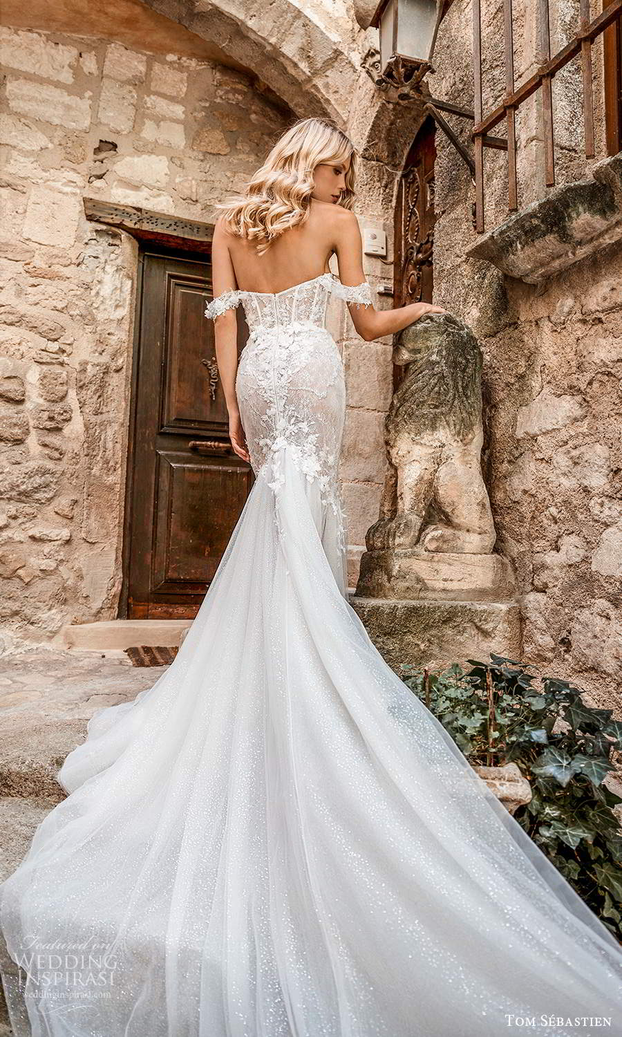 tom sebastien 2021 bridal provence off shoulder straps sweetheart nckline heavily embellished bodice fit flare mermaid wedding dress chapel train (4) bv
