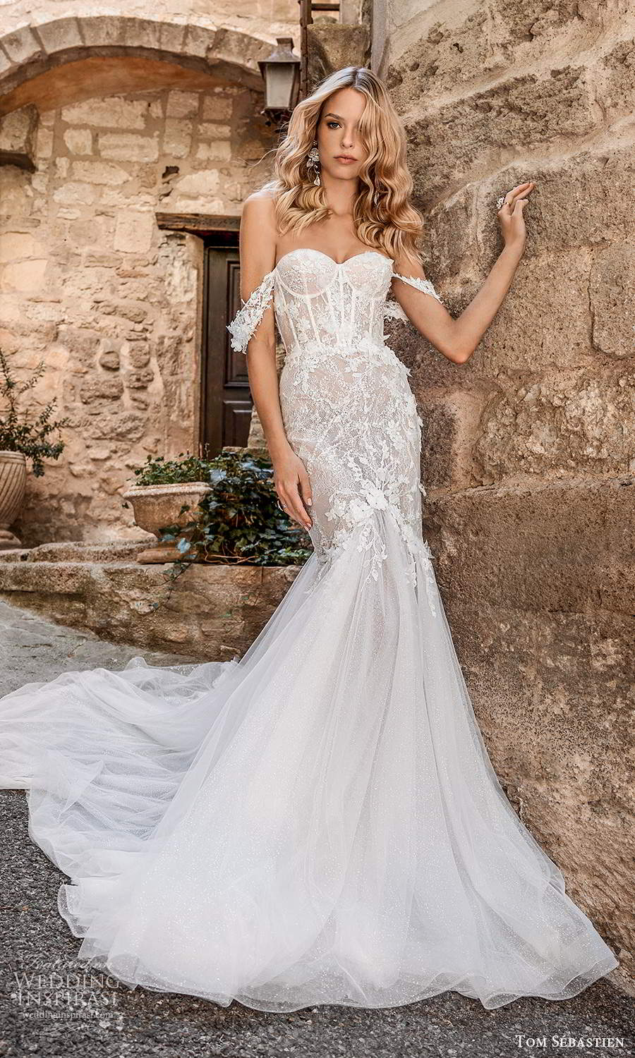 tom sebastien 2021 bridal provence off shoulder straps sweetheart nckline heavily embellished bodice fit flare mermaid wedding dress chapel train (4) mv