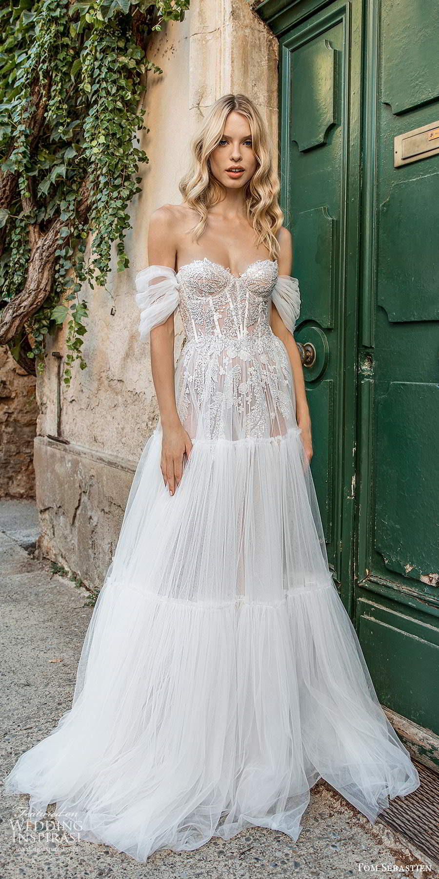 tom sebastien 2021 bridal provence off shoulder straps sweetheart neckline heavily embellished bodice a line ball gown wedding dress (5) lv