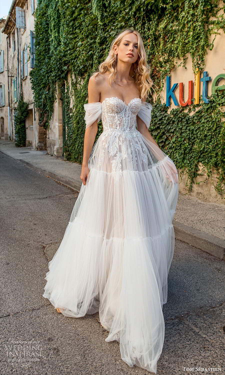 tom sebastien 2021 bridal provence off shoulder straps sweetheart neckline heavily embellished bodice a line ball gown wedding dress (5) mv