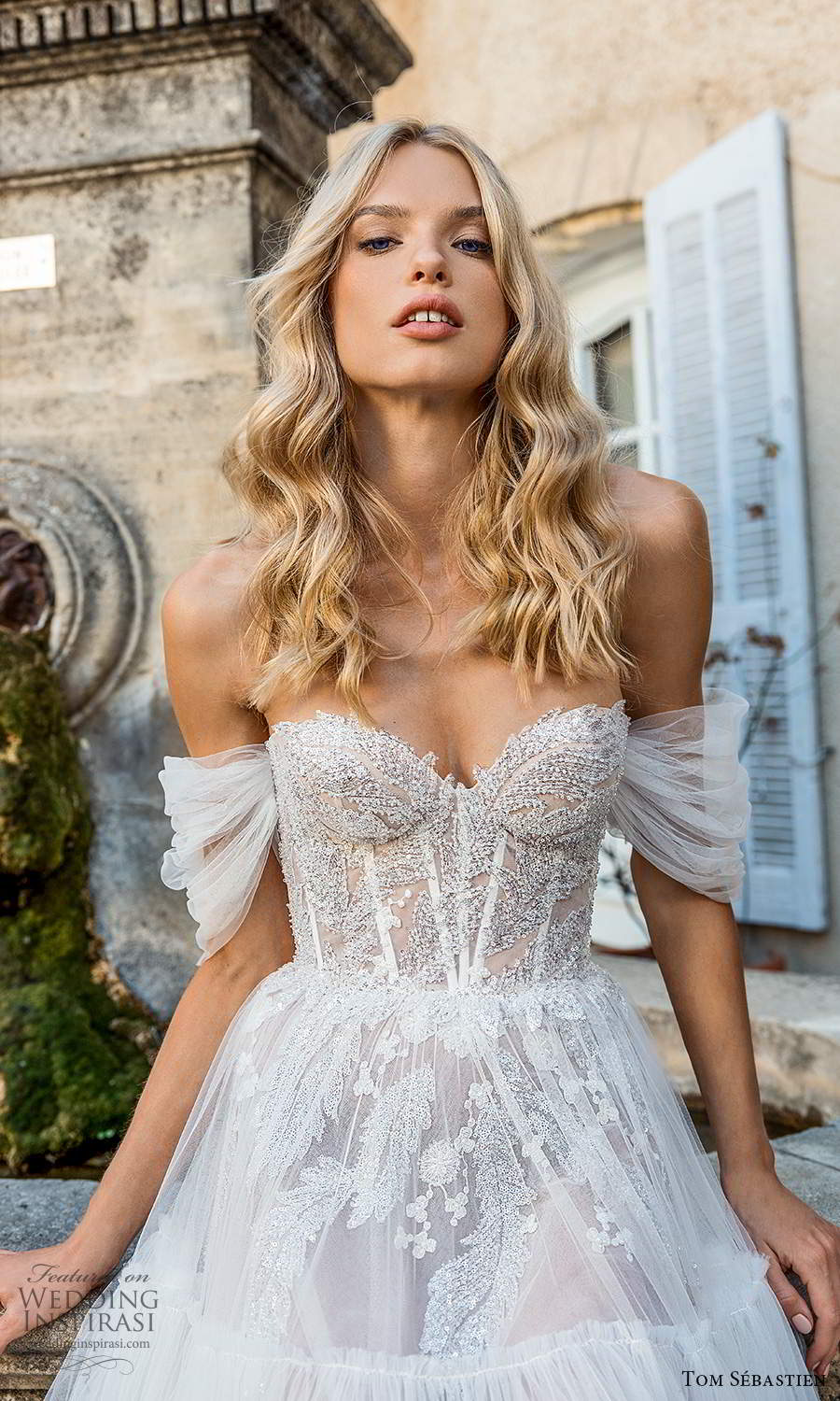 tom sebastien 2021 bridal provence off shoulder straps sweetheart neckline heavily embellished bodice a line ball gown wedding dress (5) zv