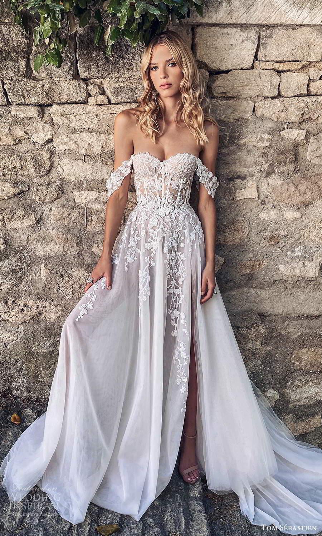 tom sebastien 2021 bridal provence off shoulder straps sweetheart neckline heavily embellished bodice a line ball gown wedding dress chapel train slit skirt (1) fv