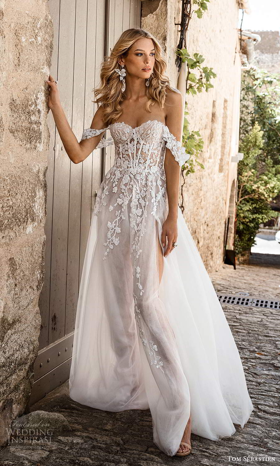 tom sebastien 2021 bridal provence off shoulder straps sweetheart neckline heavily embellished bodice a line ball gown wedding dress chapel train slit skirt (1) mv