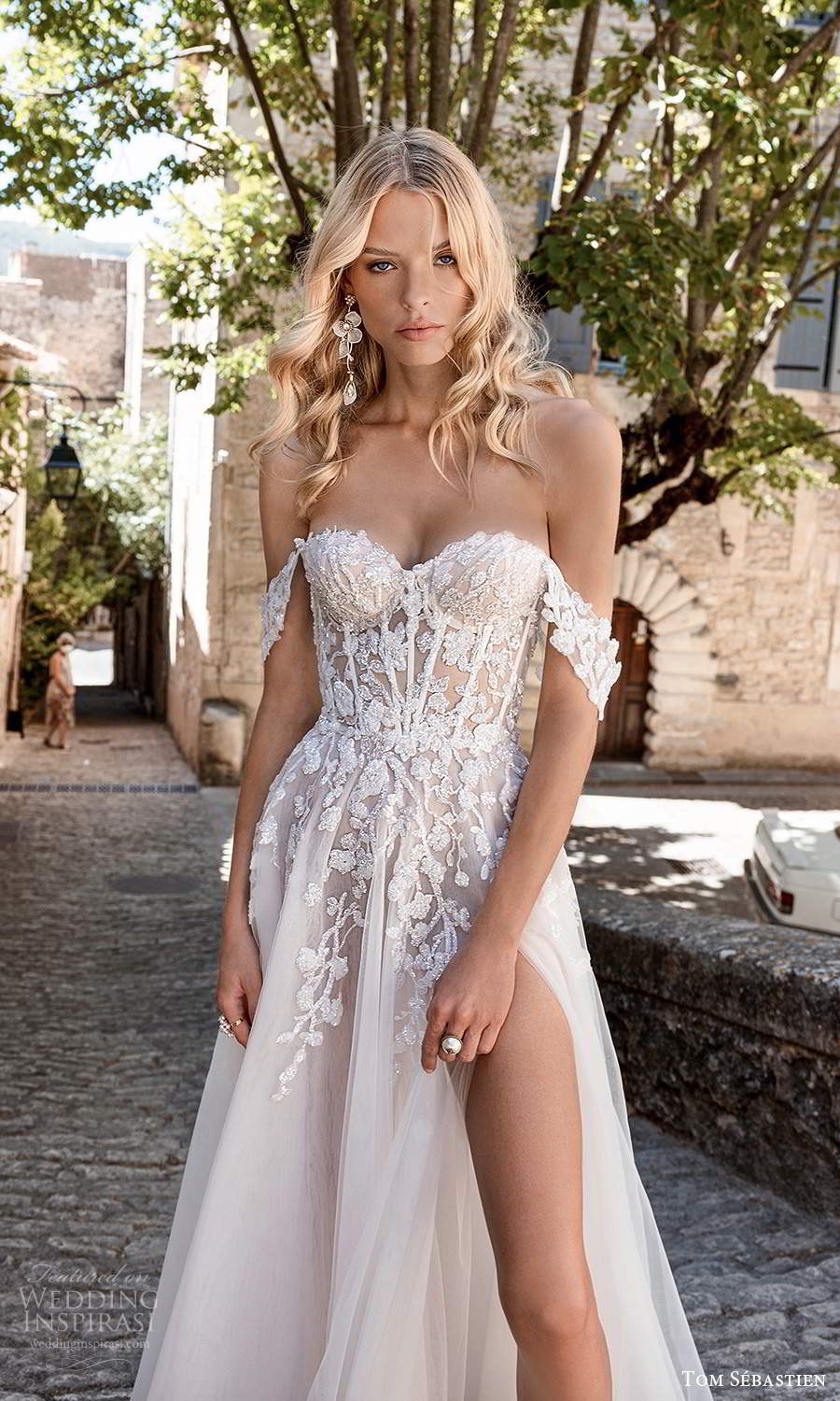 tom sebastien 2021 bridal provence off shoulder straps sweetheart neckline heavily embellished bodice a line ball gown wedding dress chapel train slit skirt (1) zv