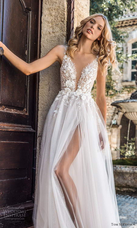 tom sebastien 2021 bridal provence off shoulder straps sweetheart neckline heavily embellished bodice a line ball gown wedding dress chapel train slit skirt v back (1) zv