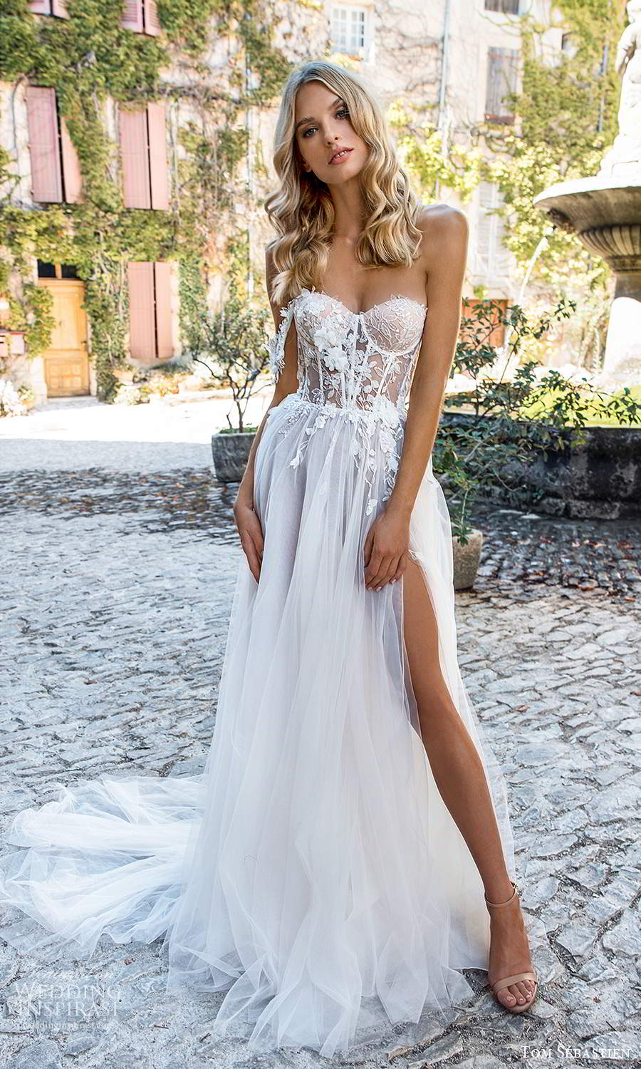 tom sebastien 2021 bridal provence one shoulder off shoulder swag strap sweetheart neckline heavily embellished bodice clean skirt a line ball gown wedding dress chapel train slit skirt (7) mv