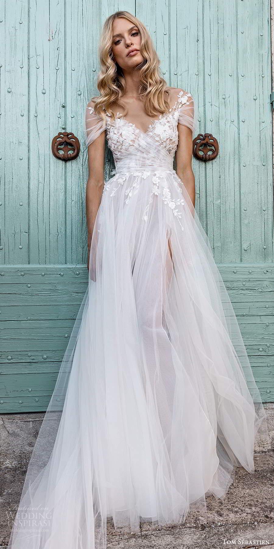 tom sebastien 2021 bridal provence sheer short sleeves surplice v neckline embellished ruched bodice a line ball gown wedding dress chapel train (13) lv