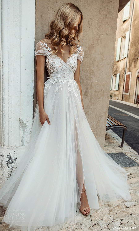 tom sebastien 2021 bridal provence sheer short sleeves surplice v neckline embellished ruched bodice a line ball gown wedding dress chapel train (13) mv