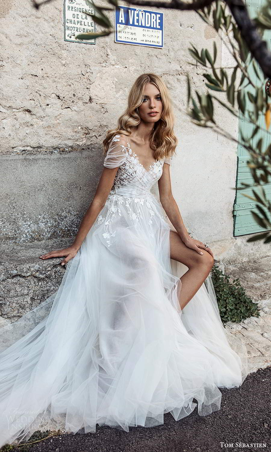 tom sebastien 2021 bridal provence sheer short sleeves surplice v neckline embellished ruched bodice a line ball gown wedding dress chapel train (13) zv