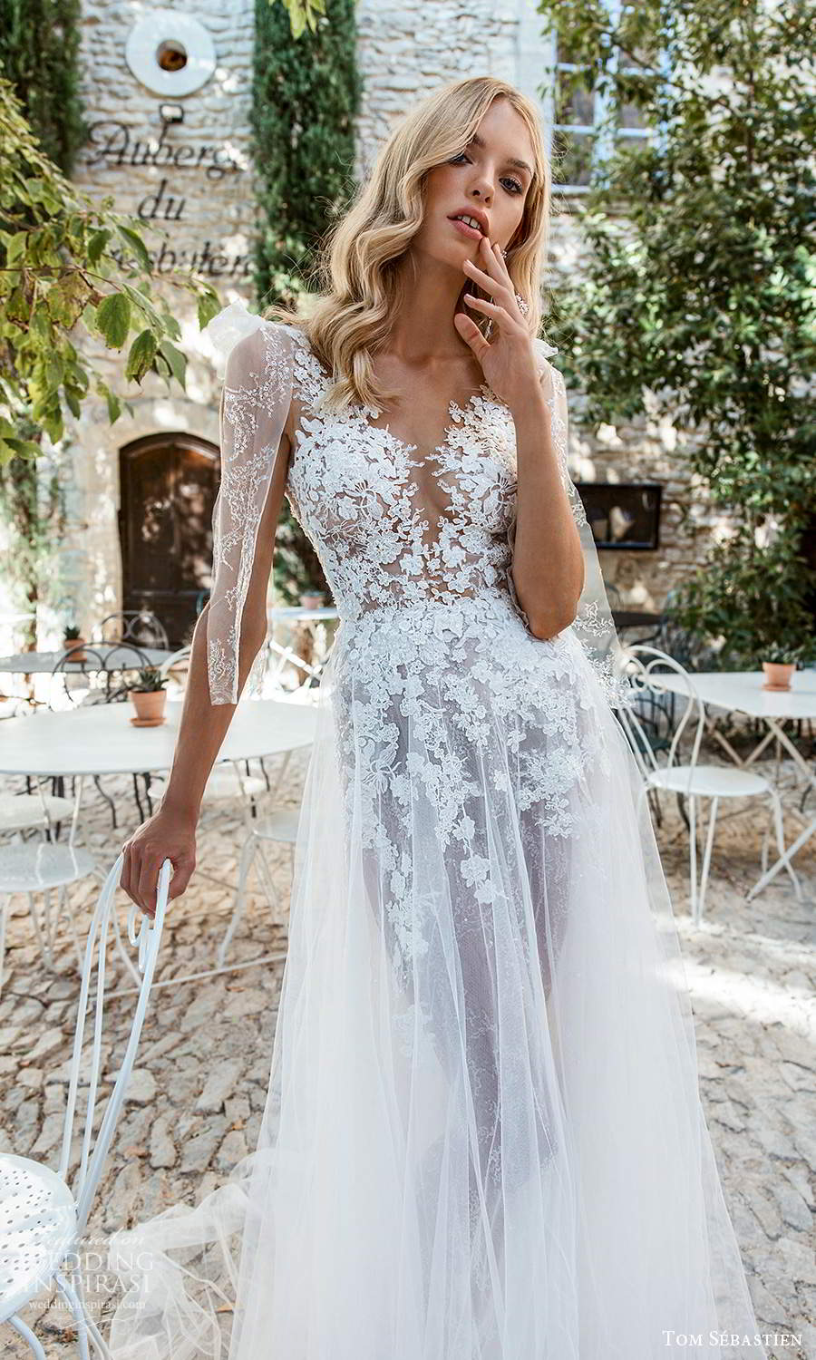 tom sebastien 2021 bridal provence sleeveless bow straps v neckline heavily embellished lace bodice a line ball gown wedding dress chapel train v back (6) zv