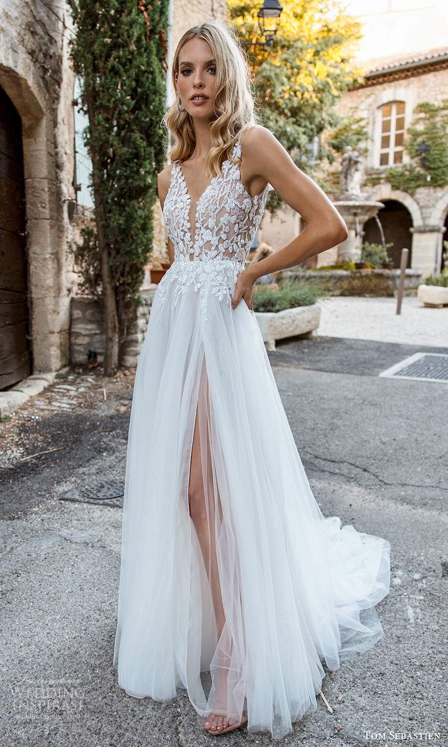 tom sebastien 2021 bridal provence sleeveless straps plunging v neckline embellished bodice a line ball gown wedding dress chapel train slit skirt (11) fv